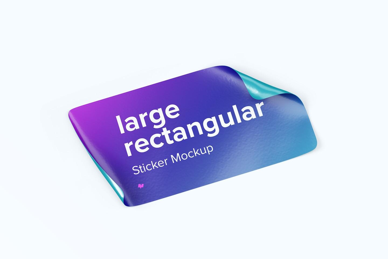 Large Rectangular Sticker Mockup, Left View