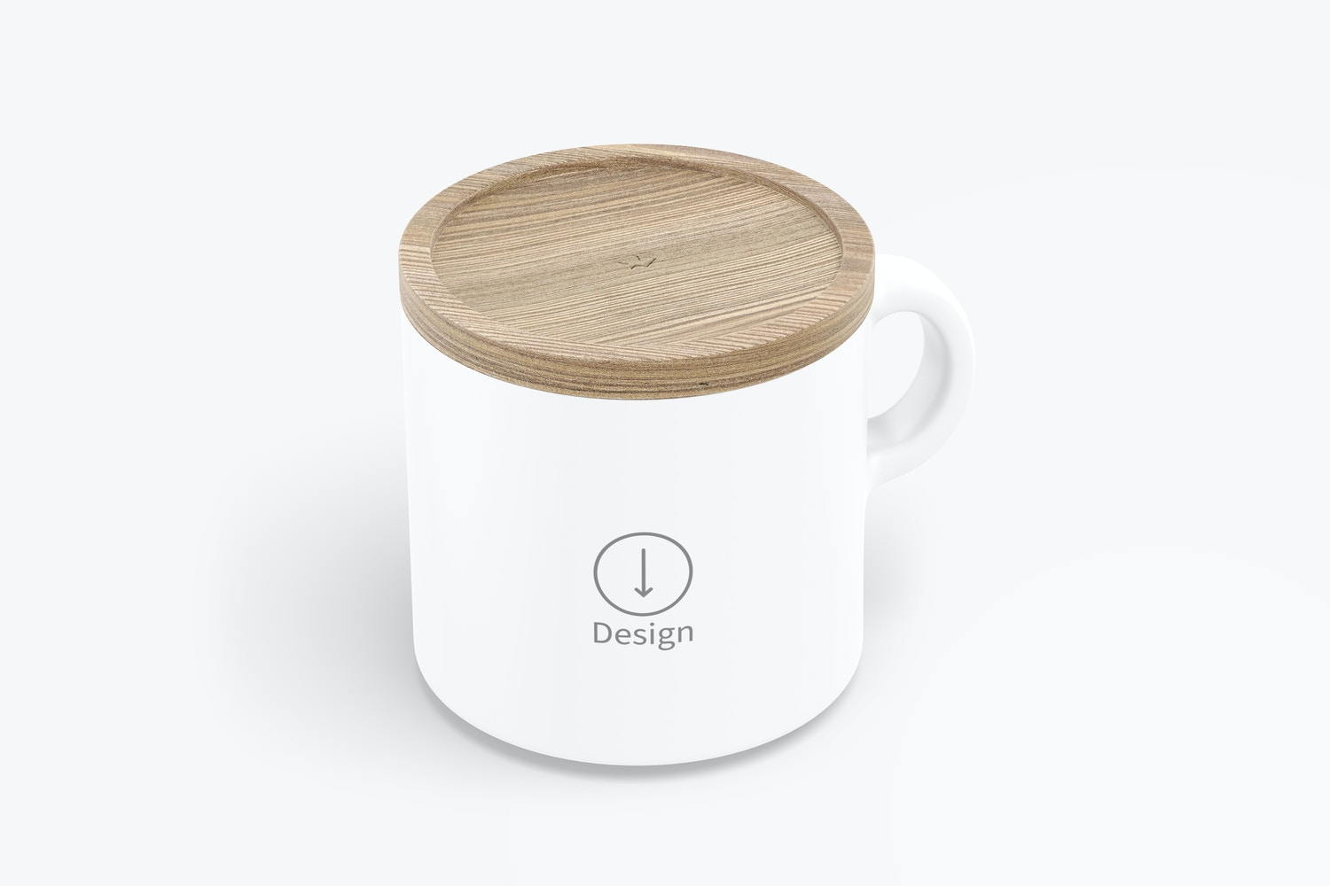 10 oz Ceramic Mugs with Bamboo Lid Mockup, Isometric Right View