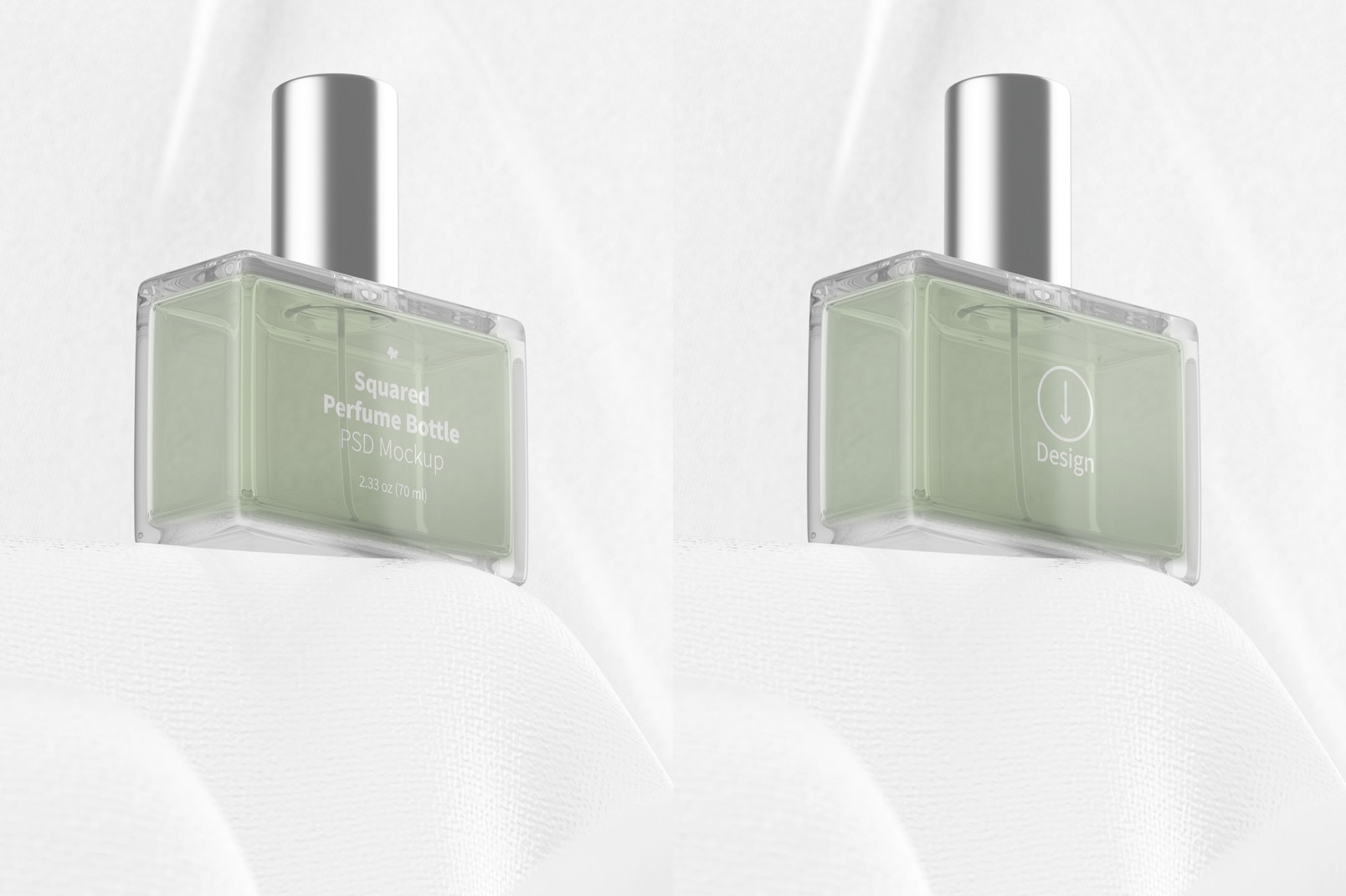 Squared Perfume Bottle Mockup, Perspective
