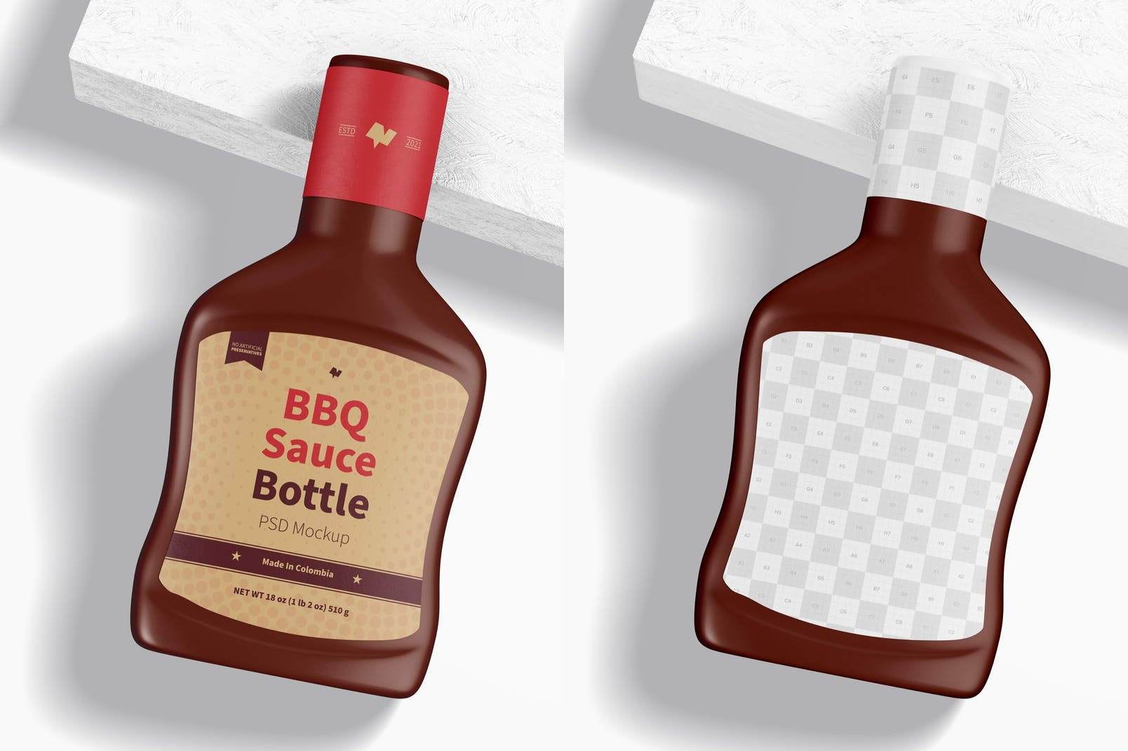 Barbecue Sauce Bottle Mockup, Top View
