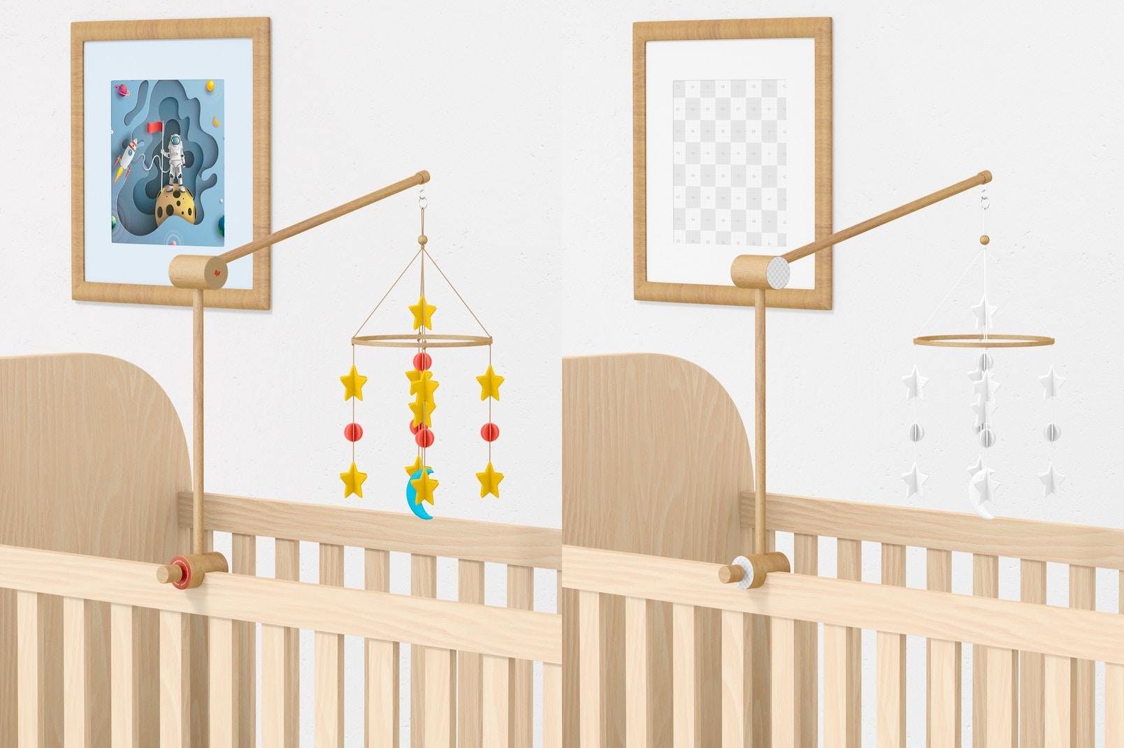 Baby Crib Mobile Mockup, Right View