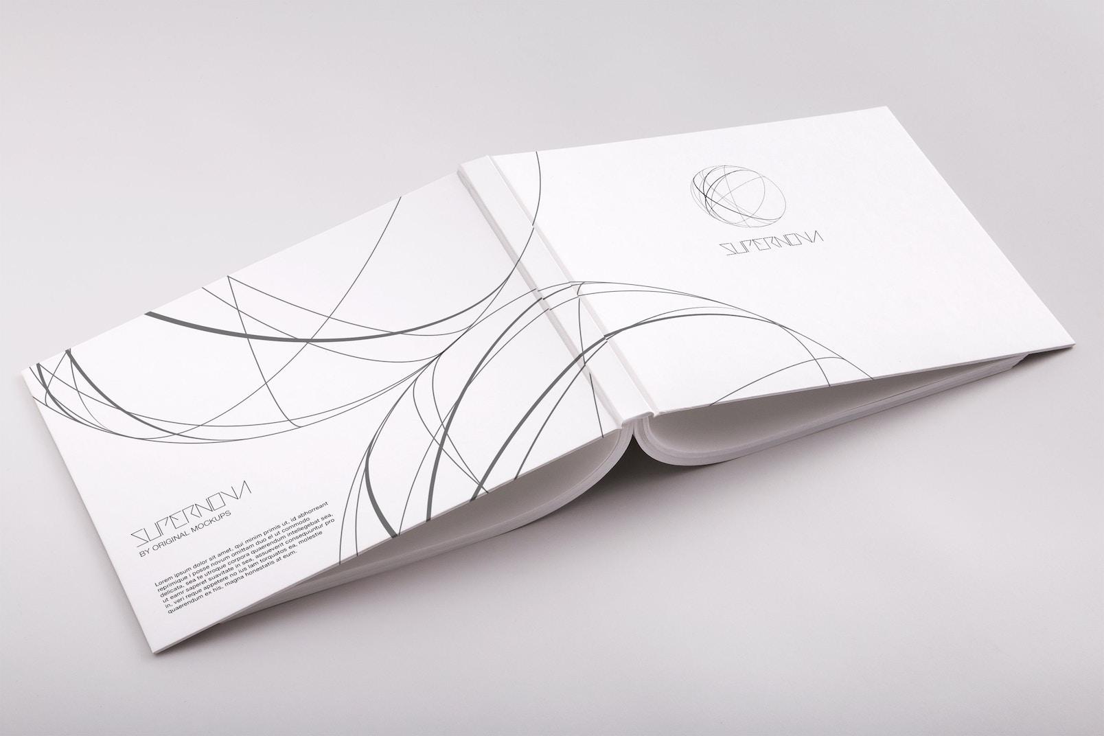 Hardcover Standard Landscape Book PSD Mockup 04
