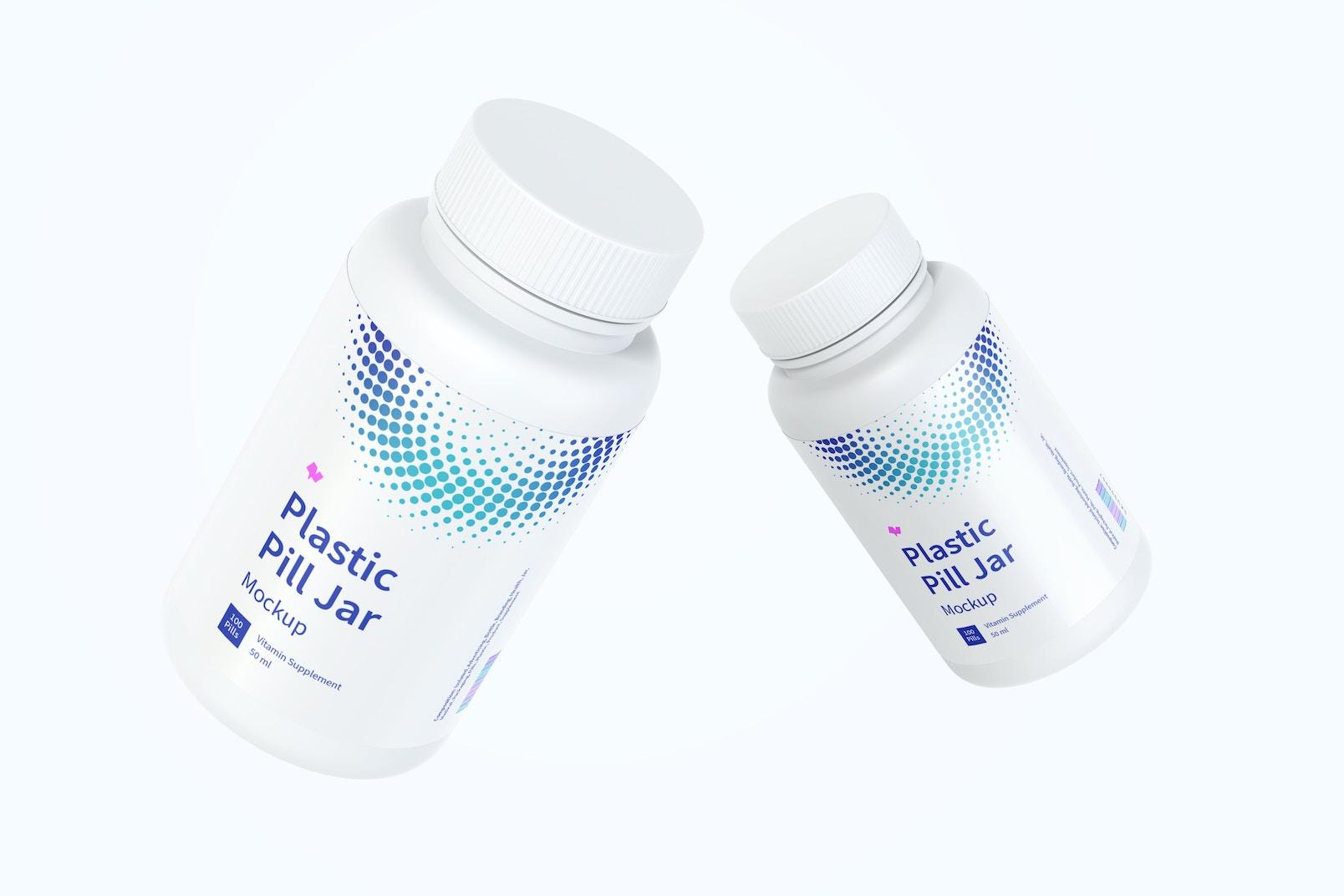 Plastic Pill Jars Mockup, Floating