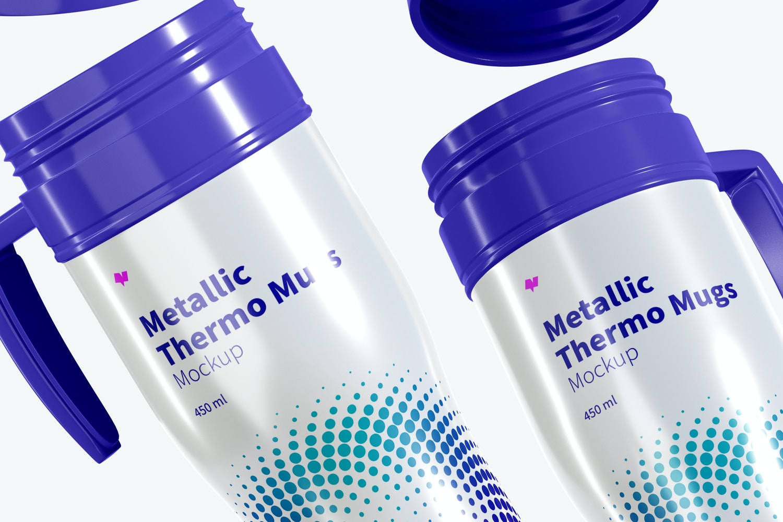 Glossy Metallic Thermo Mugs Mockup, Floating