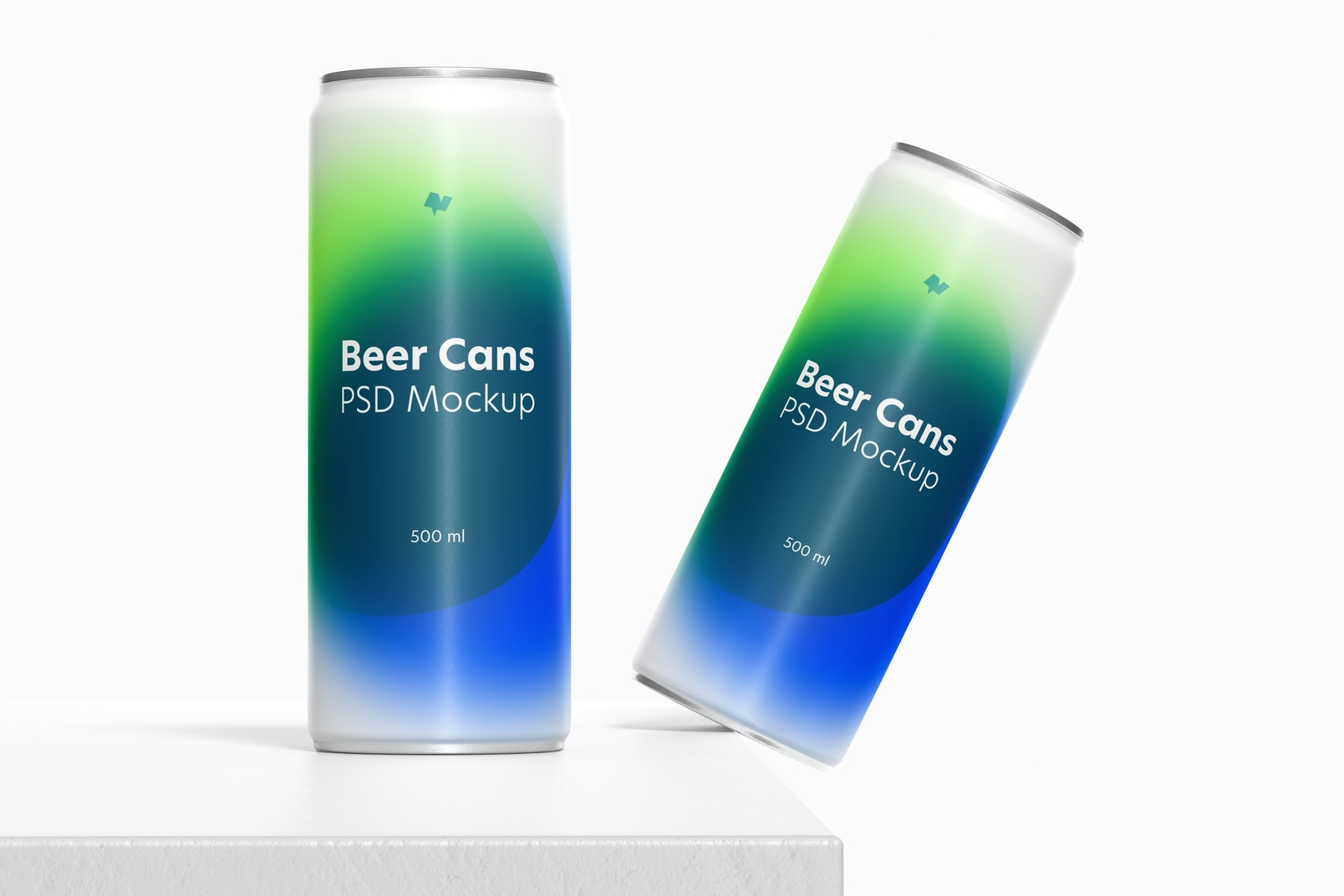 500ml Beer Cans Mockup, Falling