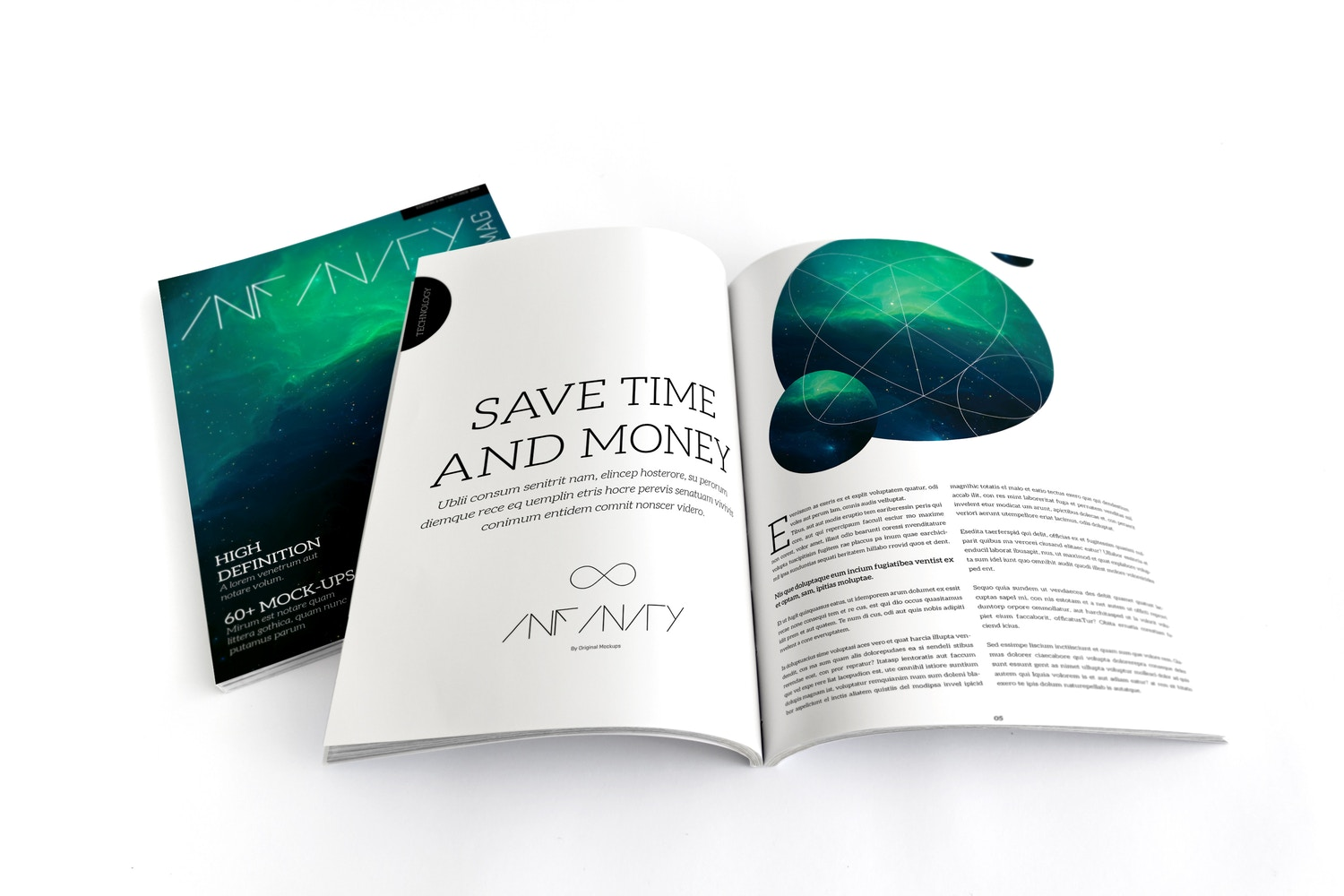 A4 Magazine Mockup for Spread Page & Cover 01 by Original Mockups on Original Mockups