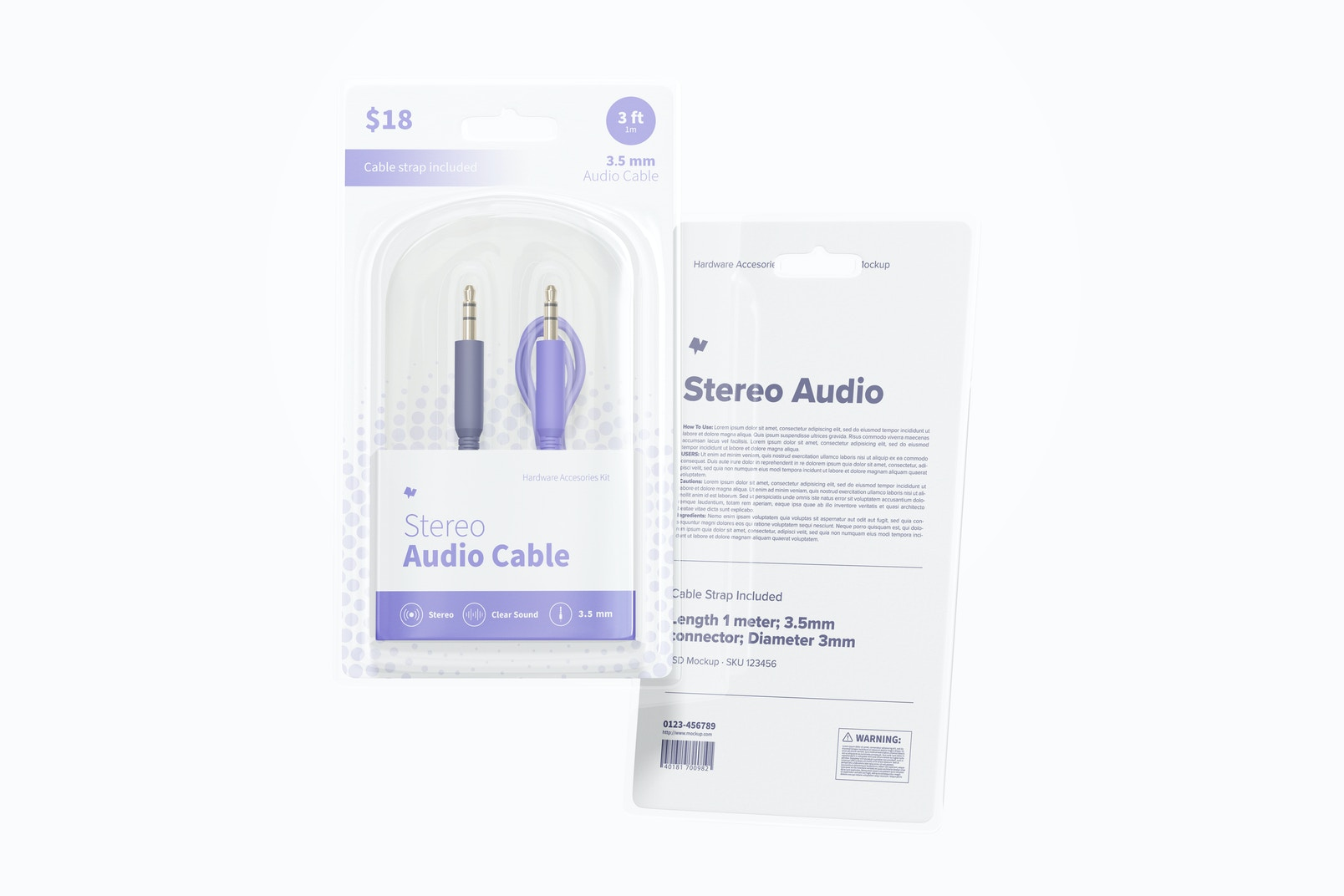 Stereo Audio Cable Mockup, Floating
