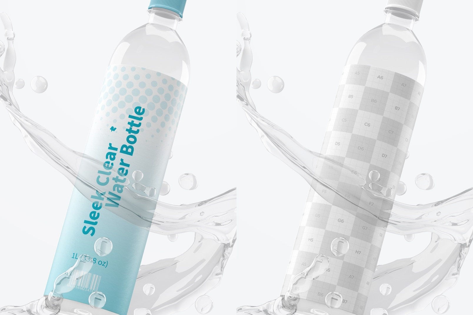 1L Sleek Clear Water Bottle Scene Mockup