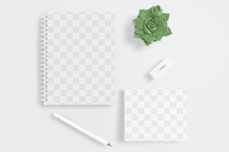 Wire Bound Notepad Scene Mockup