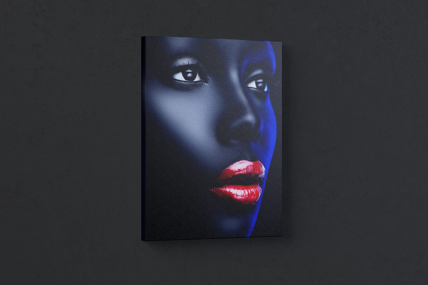 3:4 Portrait Canvas Mockup Hanging on Wall, Left View