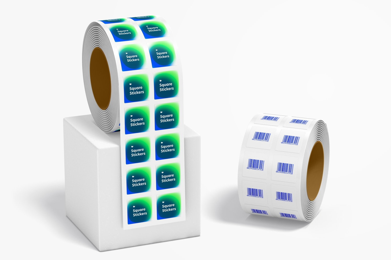 Square Stickers Rolls Mockup
