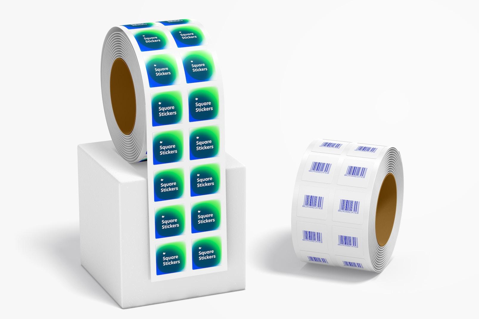 Maqueta de Rollos de Sticker Cuadrados