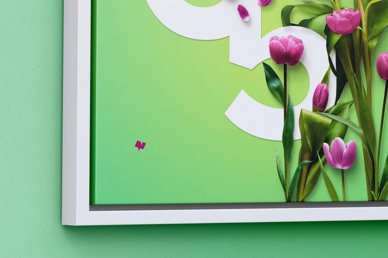6:5 Landscape Canvas Mockup in Floater Frame, Left View