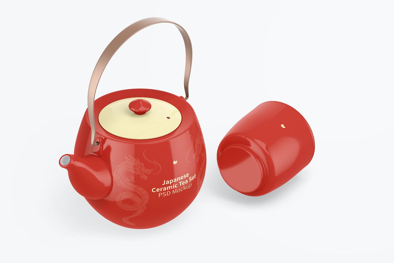 Japanese Ceramic Tea Set Mockup, Isometric Right View