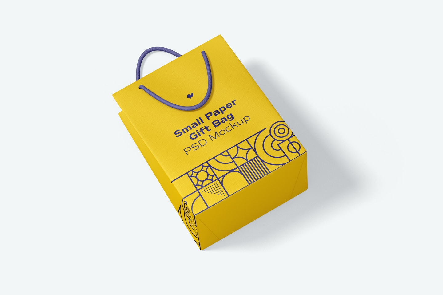 Small Paper Gift Bag With Rope Handle Mockup, Top View