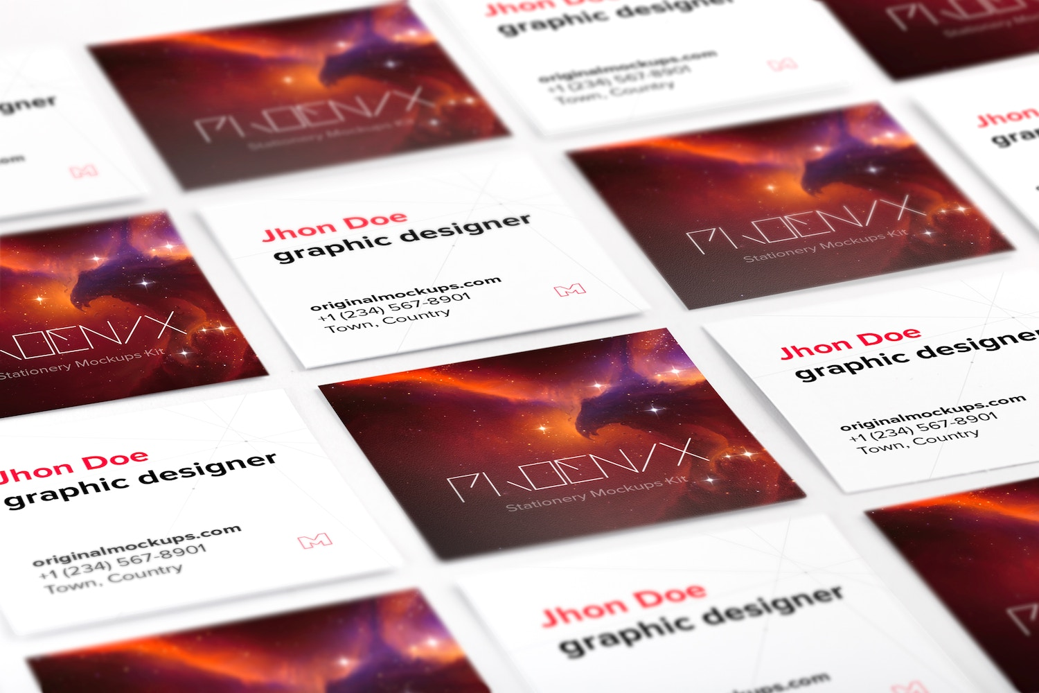 Square Business Cards Mockup 02