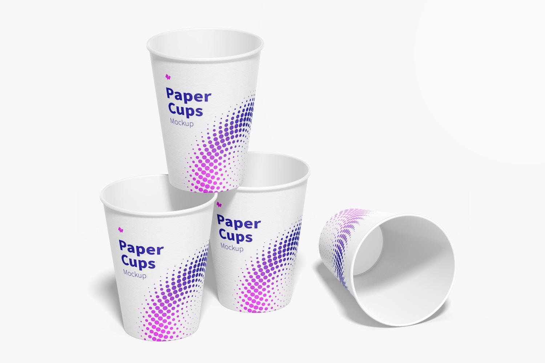 Paper Cup Set Mockup