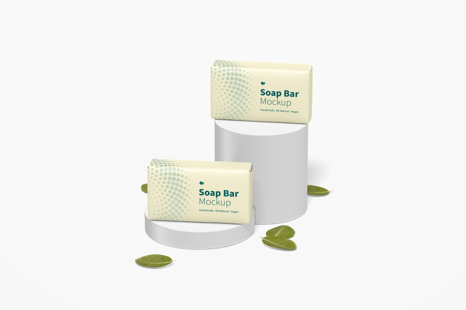 Soap Bars with Paper Package Mockup, Front View