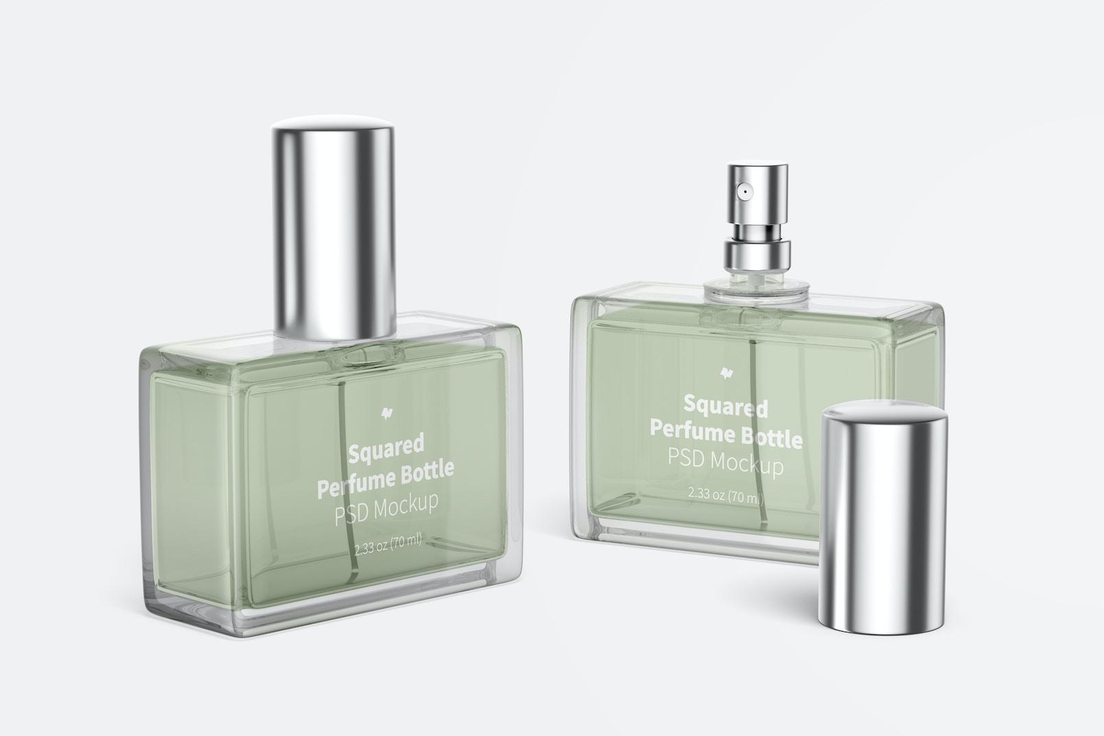 Squared Perfume Bottles Mockup
