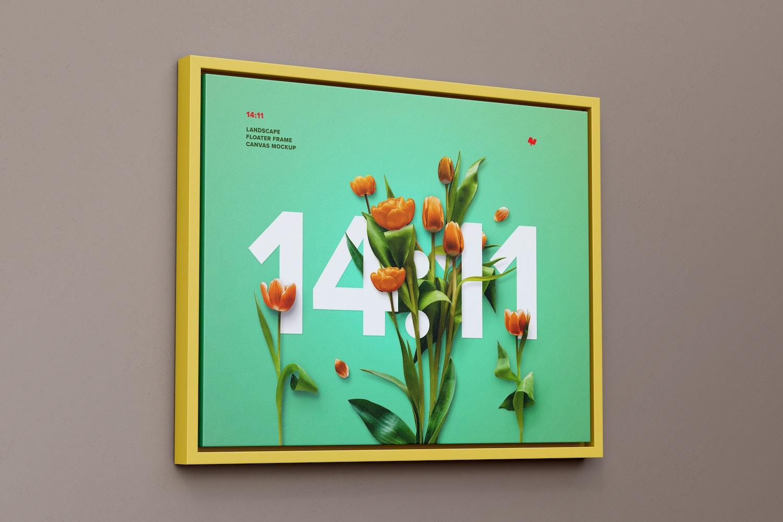 14:11 Landscape Canvas Mockup in Floater Frame, Left View