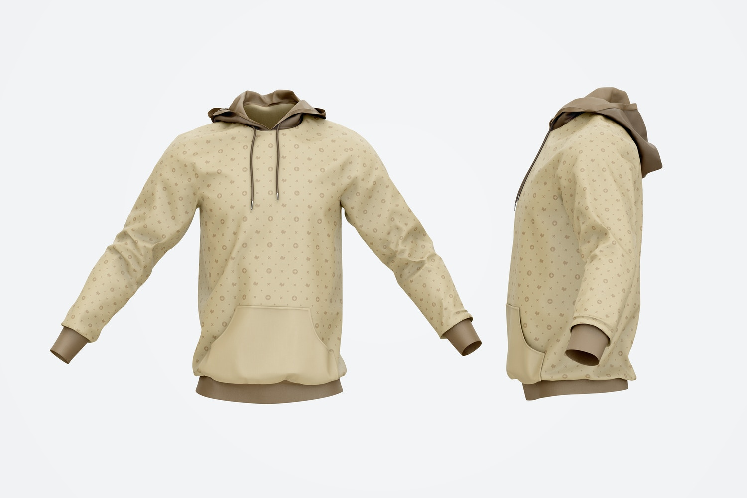 Hoodie Mockup, Front and Side View