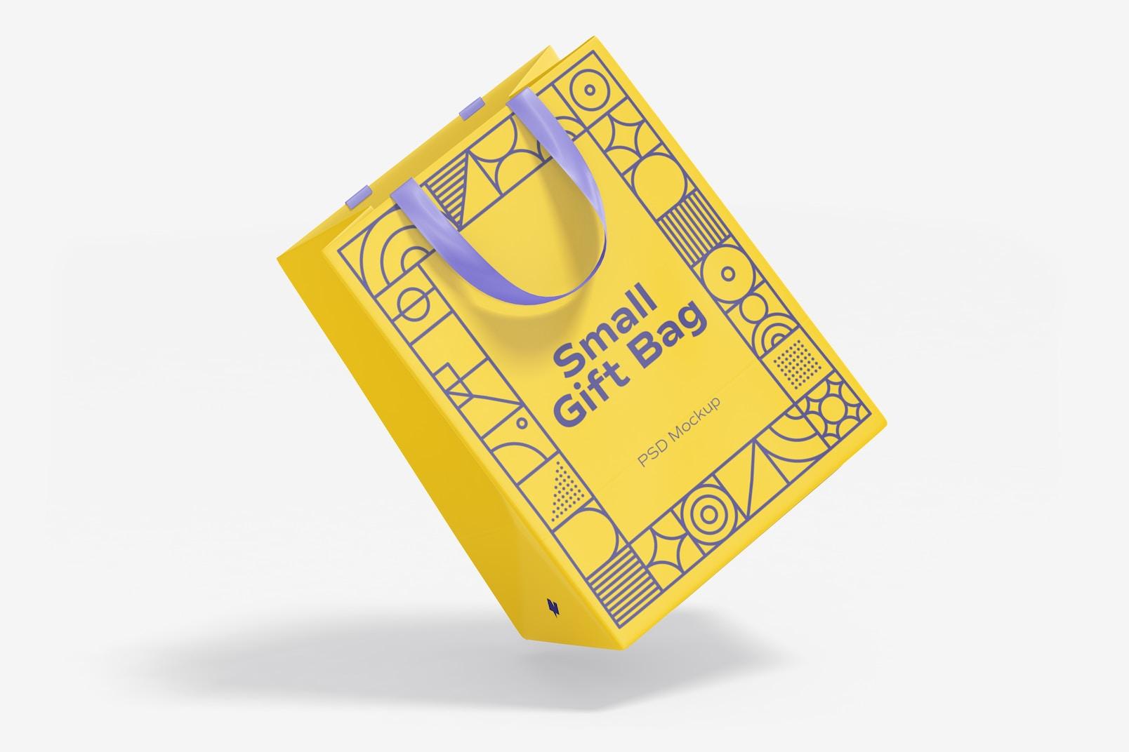 Small Gift Bag with Ribbon Handle Mockup, Falling