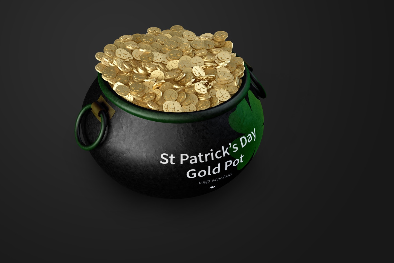 Saint Patrick's day Pot of Gold Mockup, Front View 03