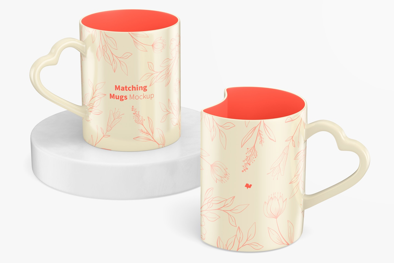 Matching Mugs Mockup, Perspective