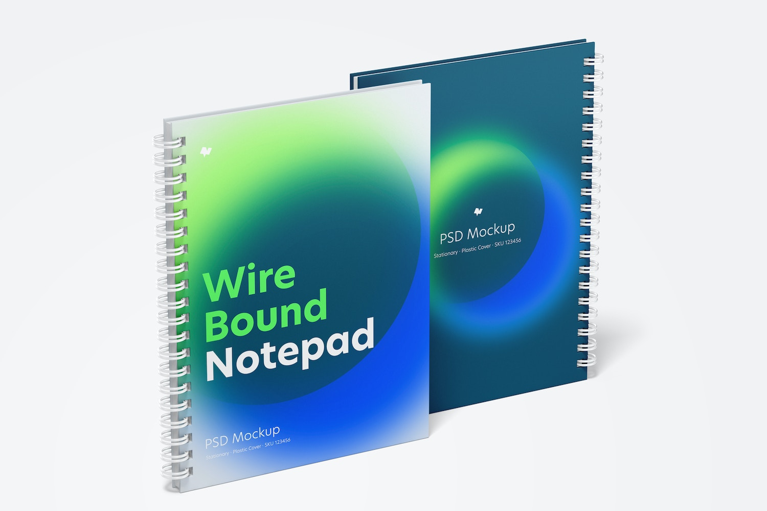 Plastic Cover Wire Bound Notepads Mockup