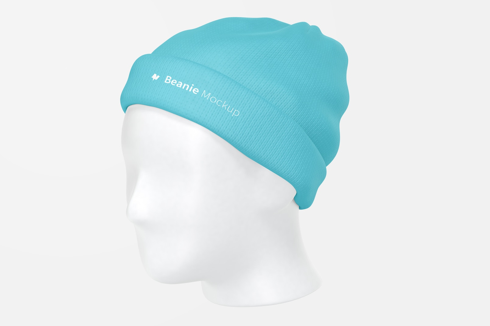 Beanie with Head Mockup, 3/4 Front Right View