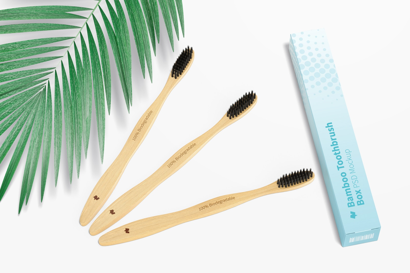 Bamboo Toothbrushes with Box Mockup