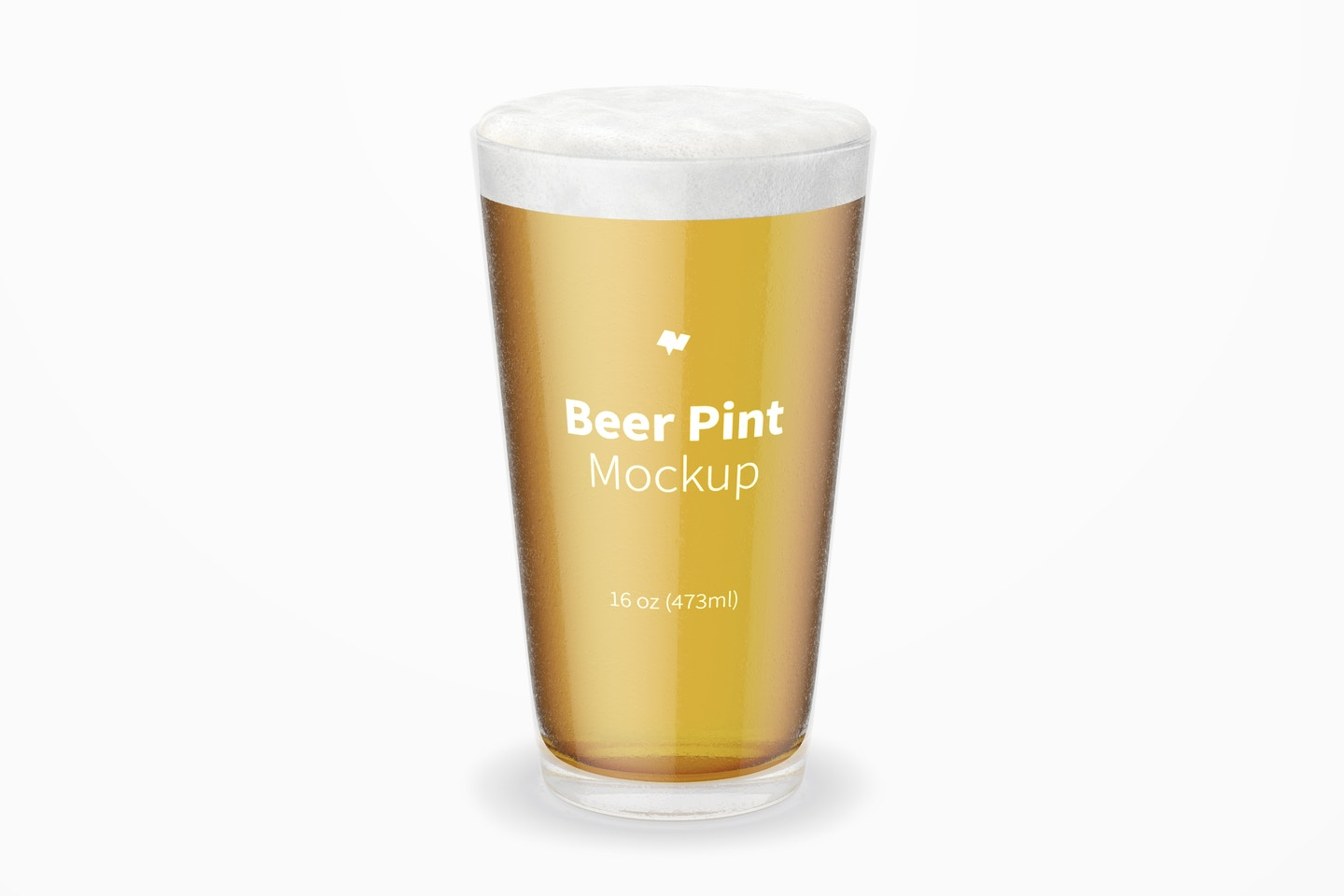 16 oz Pint Beer Glass Mockup, Front View