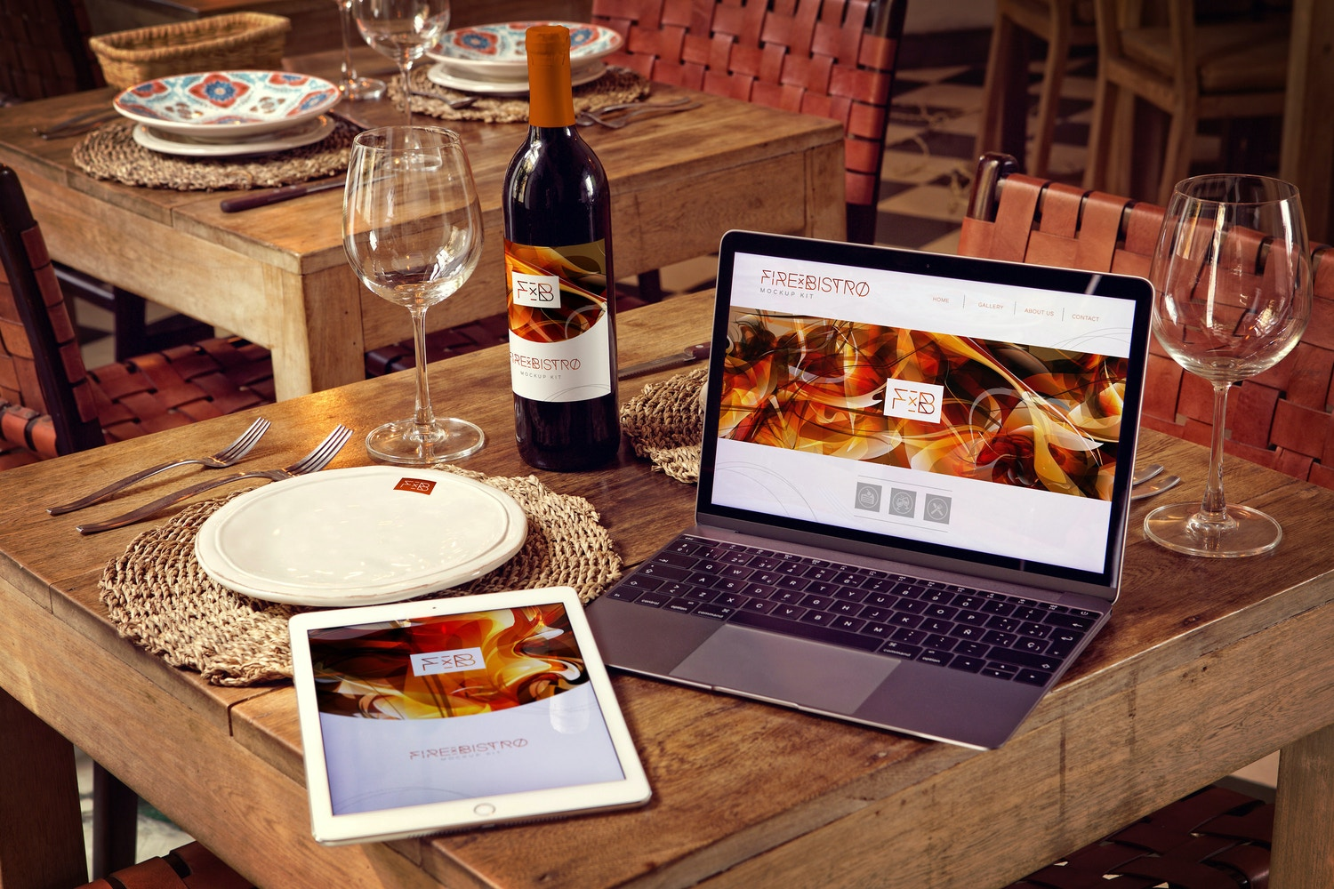 Wine Bottle, iPad Air 2, Macbook Mockup by 4to Pixel on Original Mockups
