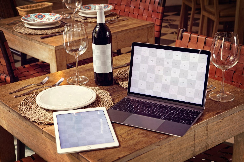 Wine Bottle, iPad Air 2, Macbook Mockup