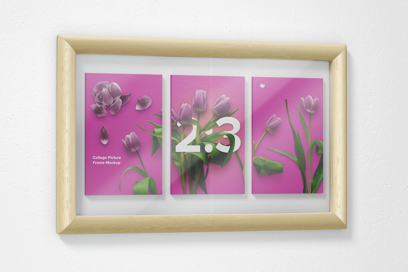 Maqueta de Marco de Foto para Collage 2:3, Vista Izquierda