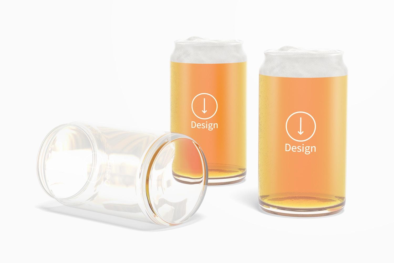 16 oz Glass Beer Cup Set Mockup
