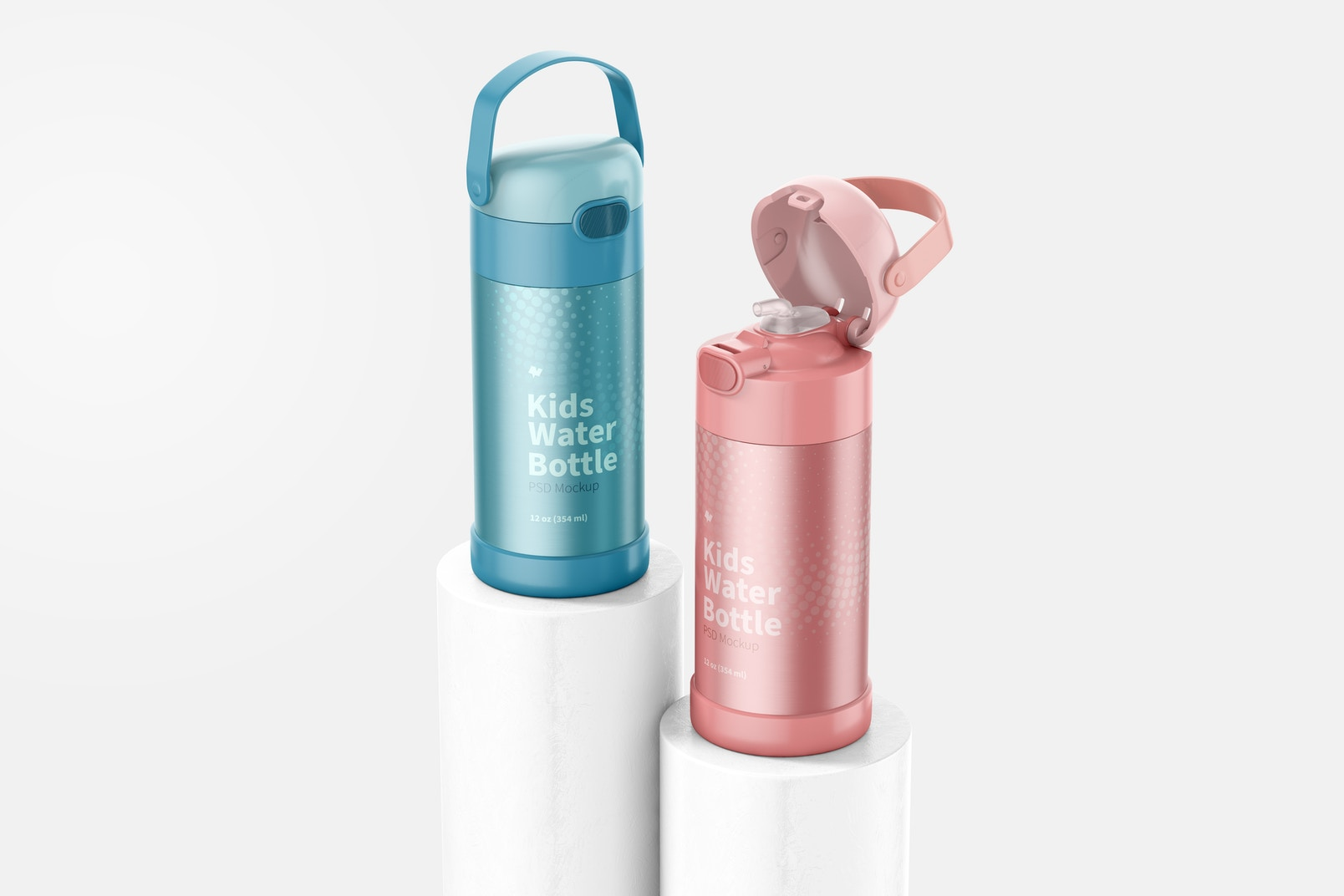 12 oz Kids Water Bottles Mockup