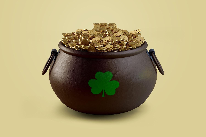 Saint Patrick's day Pot of Gold Mockup, Front View