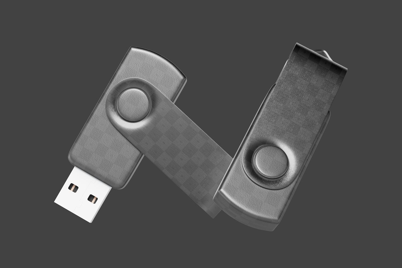 USB Flash Drives Mockup, Falling