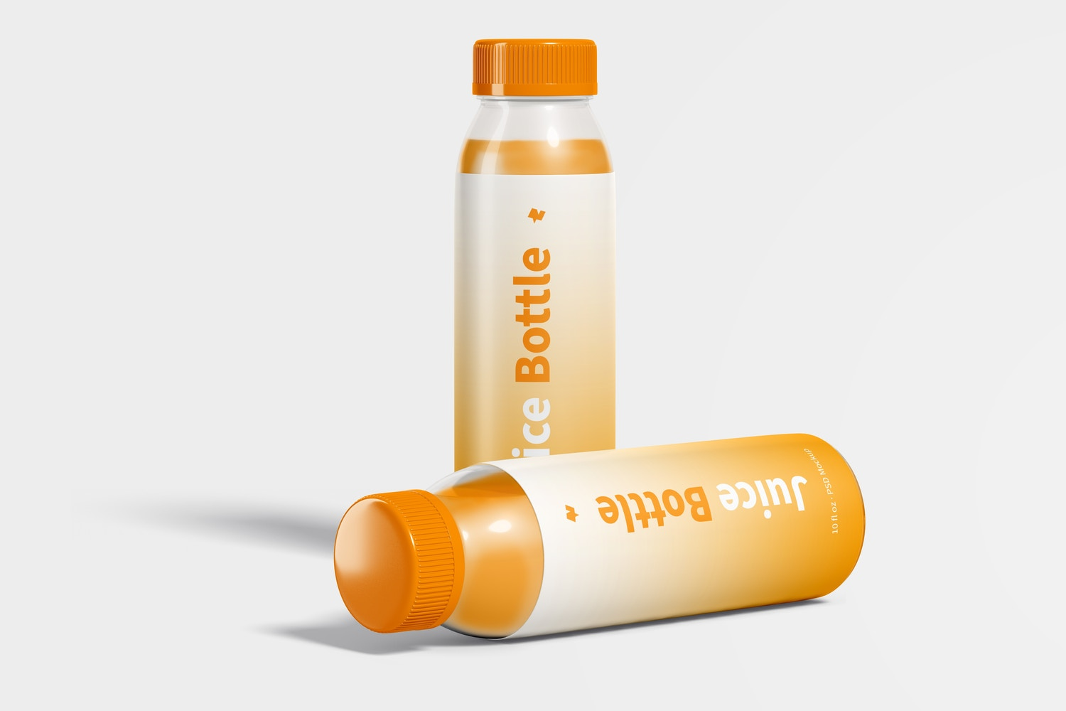 10 oz Clear PET Juice Bottles Mockup, Standing and Dropped