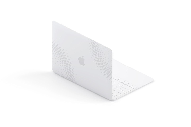 Maqueta de MacBook Multicolor, Vista Trasera Izquierda Isométrica