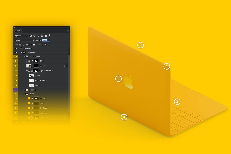 Totalmente personalizable: (1) color del cuerpo de la tapa, (2) logo con colores y degradados opcionales, (3) color del teclador, (4) intensidad de sombras opcionales y (5) colores de fondo intercambiables.