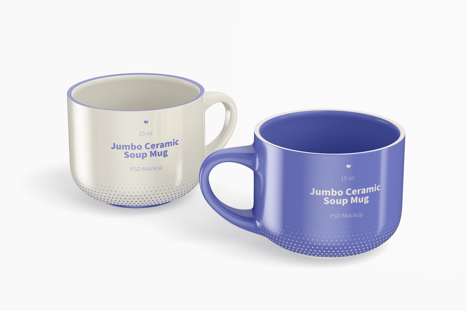 15 oz Jumbo Ceramic Soup Mugs Mockup, Front View