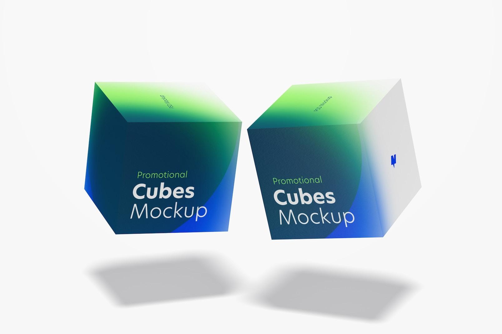 Promotional Cubes Display Mockup, Floating