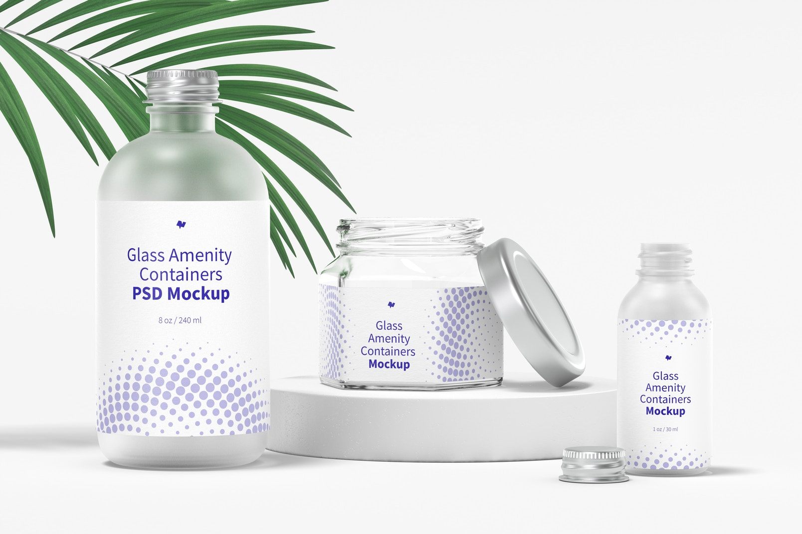 Glass Amenity Containers Mockup, Opened