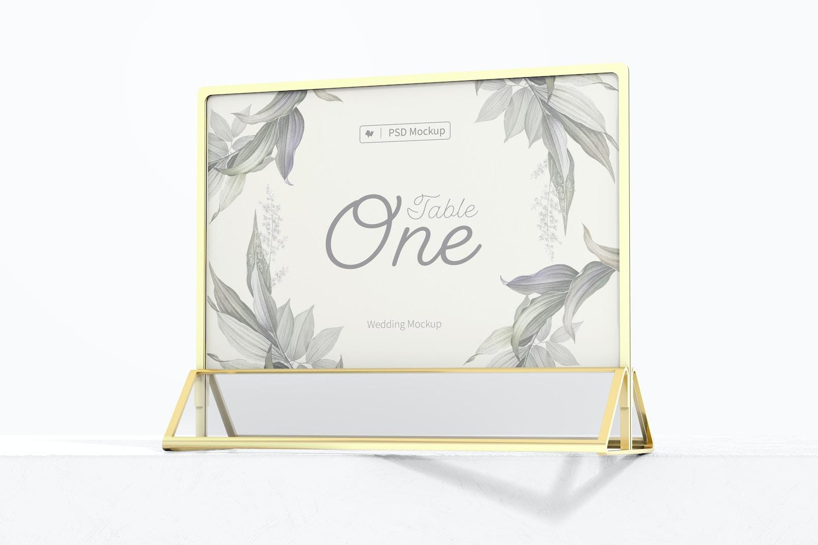 Acrylic Table Card Frame Mockup, on Surface