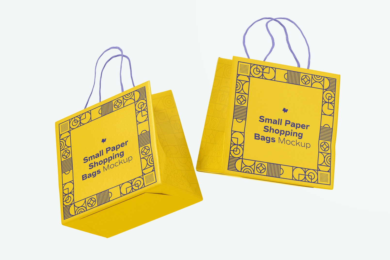 Small Paper Shopping Bags Mockup, Floating