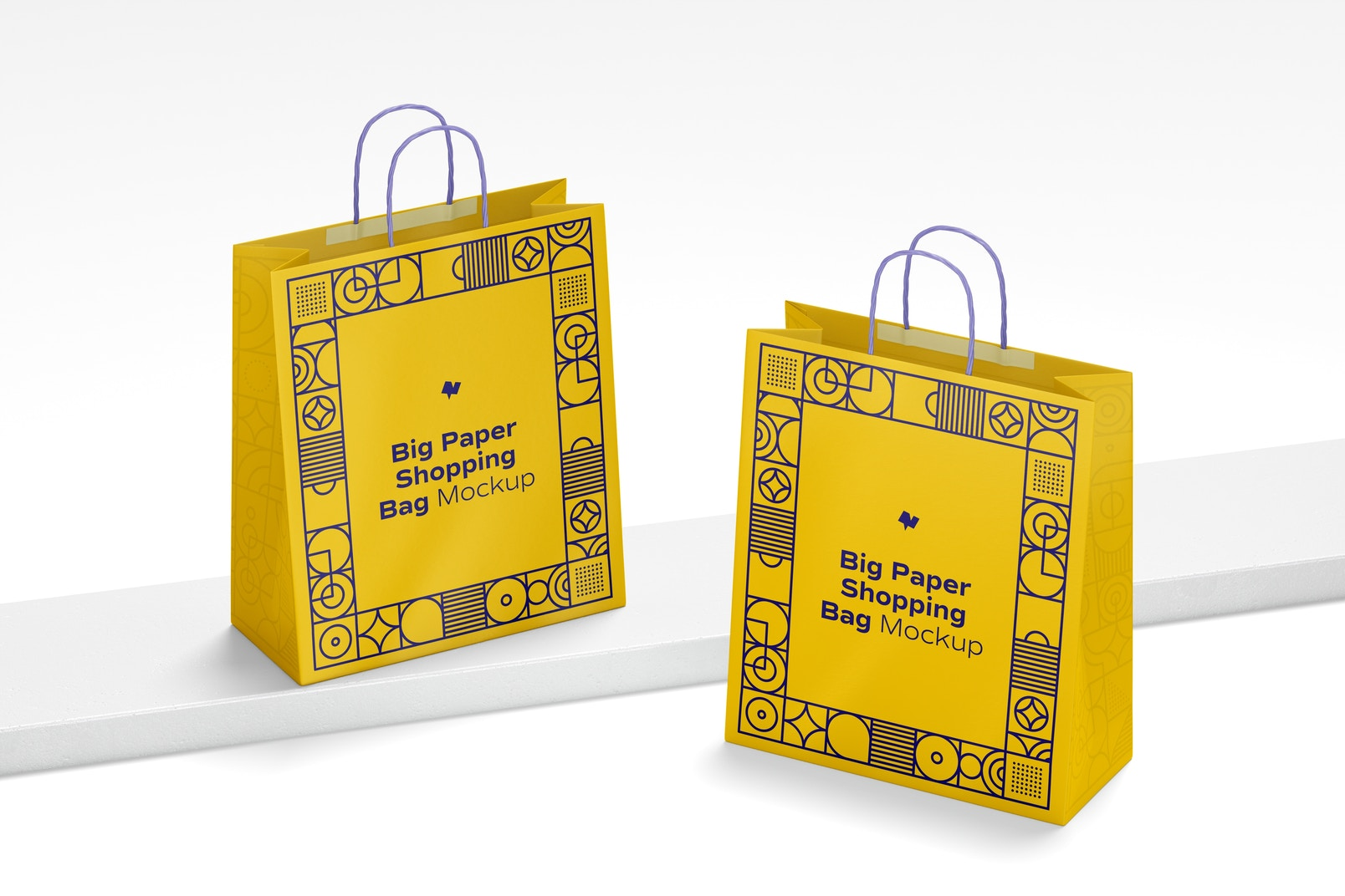 Big Paper Shopping Bags Mockup, Perspective