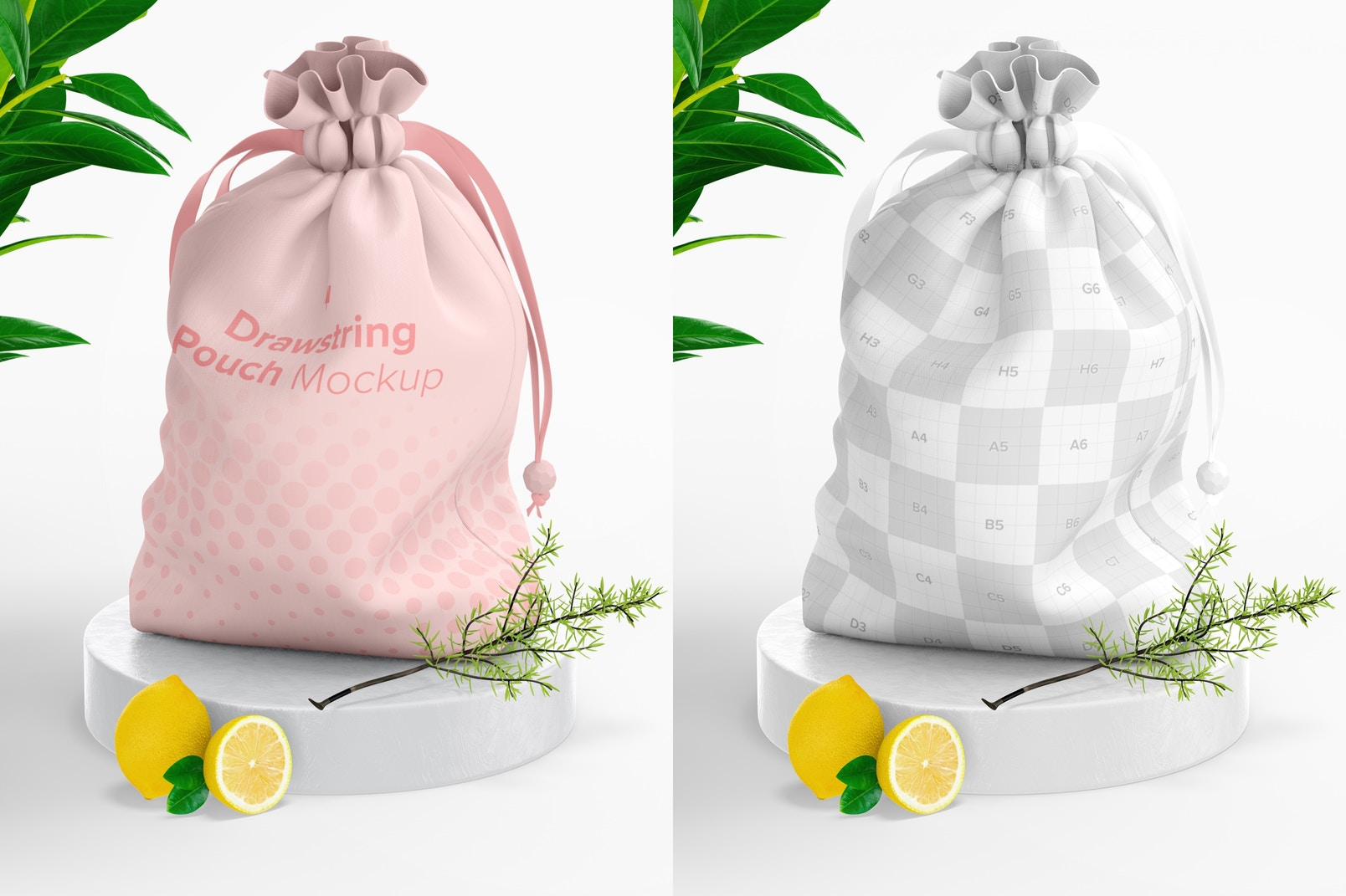 Drawstring Pouch Mockup, Right View