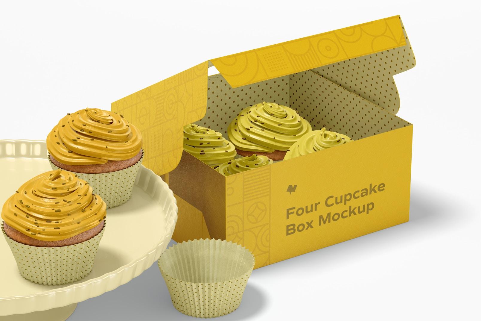Four Cupcakes Box Mockup